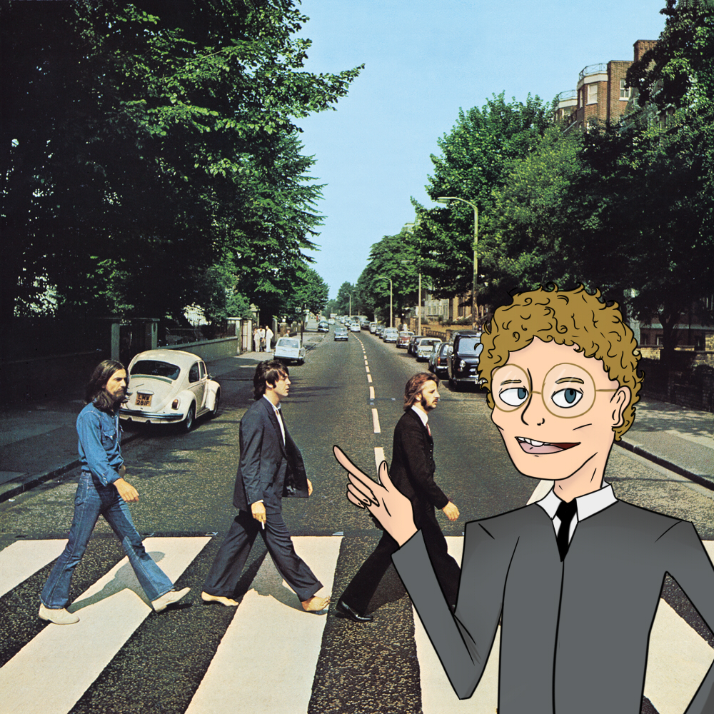 Abbey Road album cover with the addition of Tyler Parker