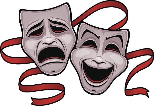 Vector+illustration+of+comedy+and+tragedy+theater+masks+with+a+red+ribbon.
